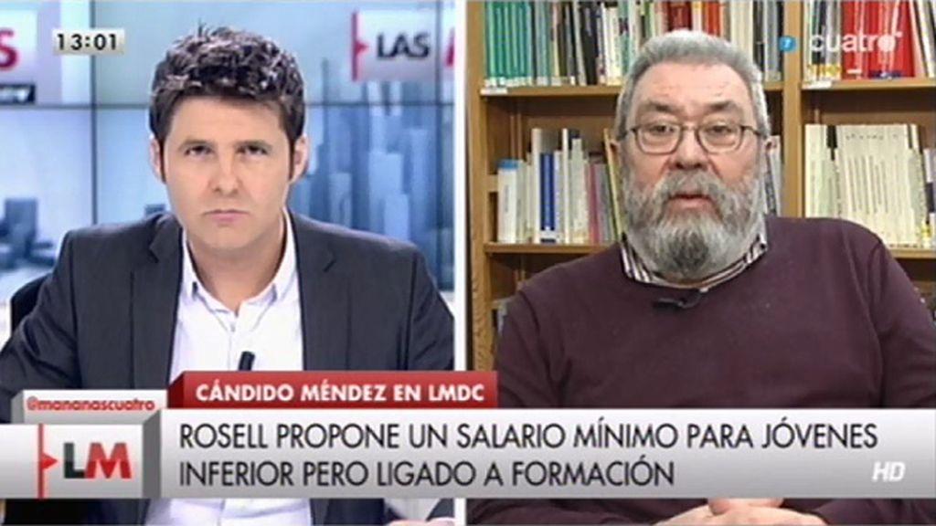 """Cándido Méndez, sobre un salario mínimo para jóvenes: """"Sería inconstitucional"""""""