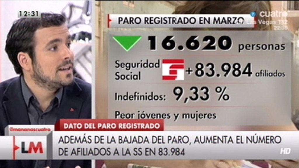 """Alberto Garzón: """"El Gobierno ha optado por crear un empleo basura"""""""
