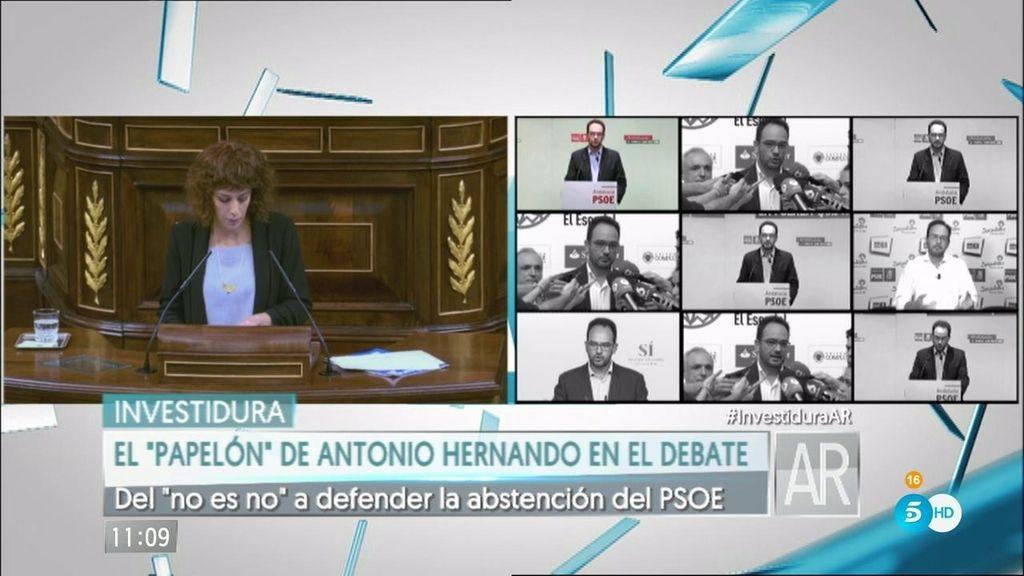 """Antonio Hernando pasa del """"no es no"""" a ser el rostro socialista de la abstención"""
