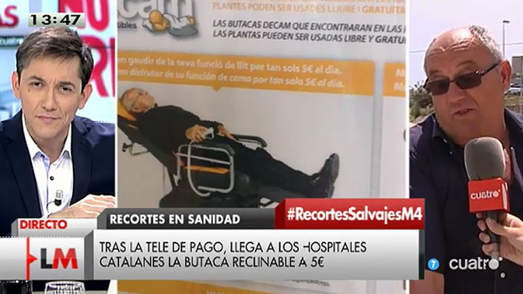 Ocho hospitales catalanes cobran cinco euros al acompañante para reclinar la butaca
