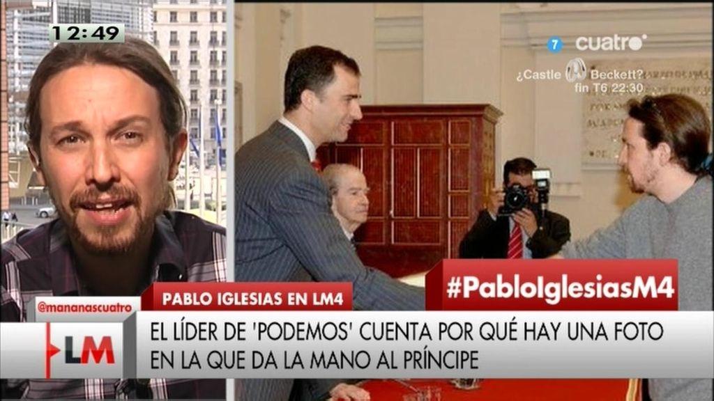 Pablo Iglesias explica la polémica foto de su saludo con el Príncipe y Blesa