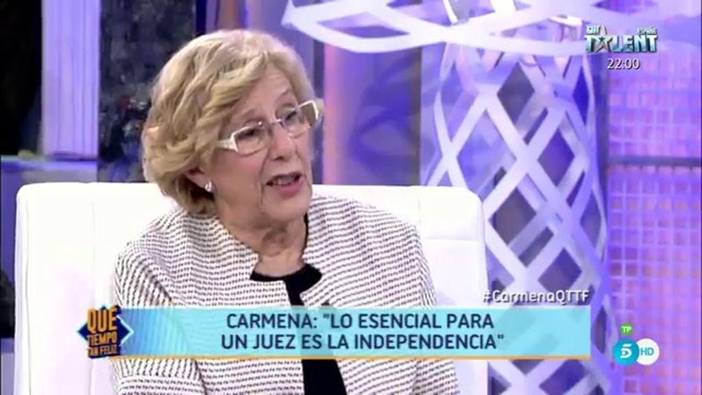 """Manuela Carmena: """"Lo más importante es que los jueces sean independientes"""""""