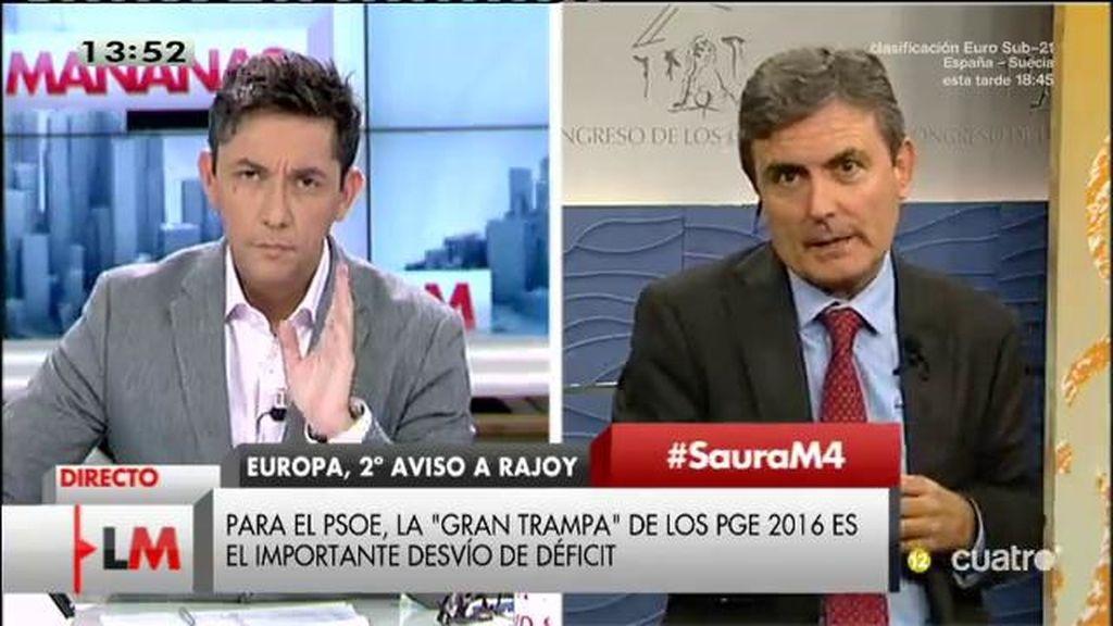 """Saura, portavoz de Hacienda: """"El PP ha inclunplido con los objetivos de déficit"""""""
