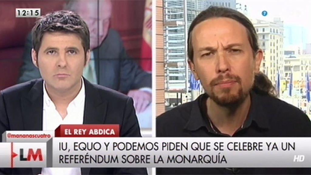 """Pablo Iglesias: """"Las élites del PSOE y el PP tienen miedo de que voten los ciudadanos"""""""