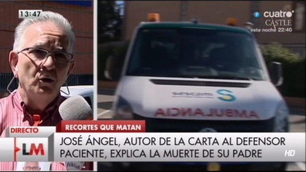 """J. Ángel explica la muerte de su padre: """"Estuvo en un pasillo durante seis horas"""""""