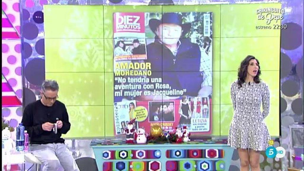 """Amador M., en 'Diez Minutos': """"No tendría una aventura con Rosa, mi mujer es Jacqueline"""""""