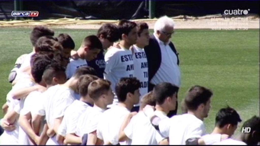 El juvenil B del Barcelona, equipo de Adrià Vilanova, le dedica el partido a Tito Vilanova