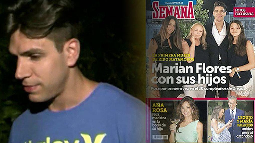 Diego Matamoros niega el enfado de su madre y su hermana tras la publicación de una foto en la que aparecen