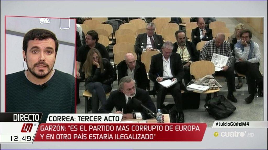"""Garzón: """"Es dramático que el PSOE se esté planteando blanquear al jefe de la banda"""""""