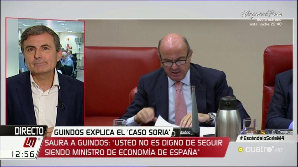 """Pedro Saura: """"Tras su penosa intervención, se tiene que ir el señor Guindos"""""""
