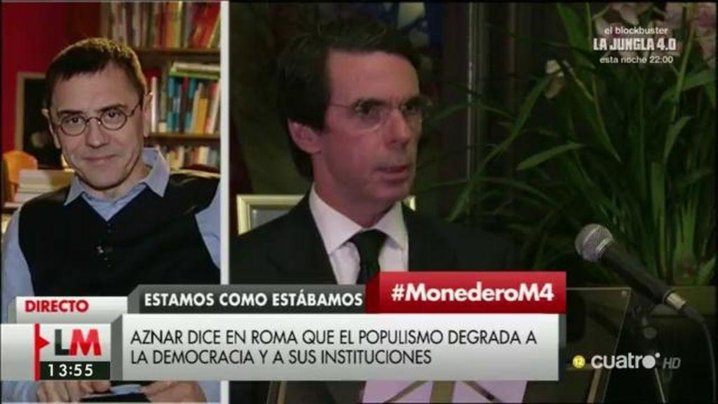 """Monedero: """"Aznar es el responsable del vaciamiento de nuestras instituciones"""""""