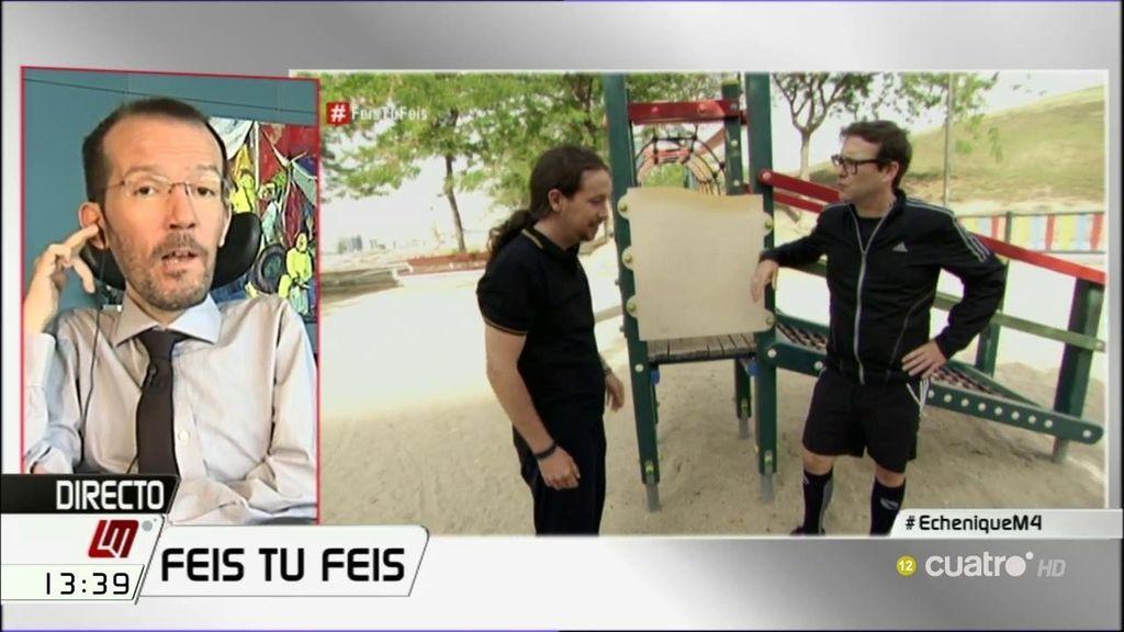 """Echenique, tras ver a Iglesias con Joaquín Reyes en 'Feis tu feis': """"Me da envidia, le pido a Joaquín que algún día me imite"""""""