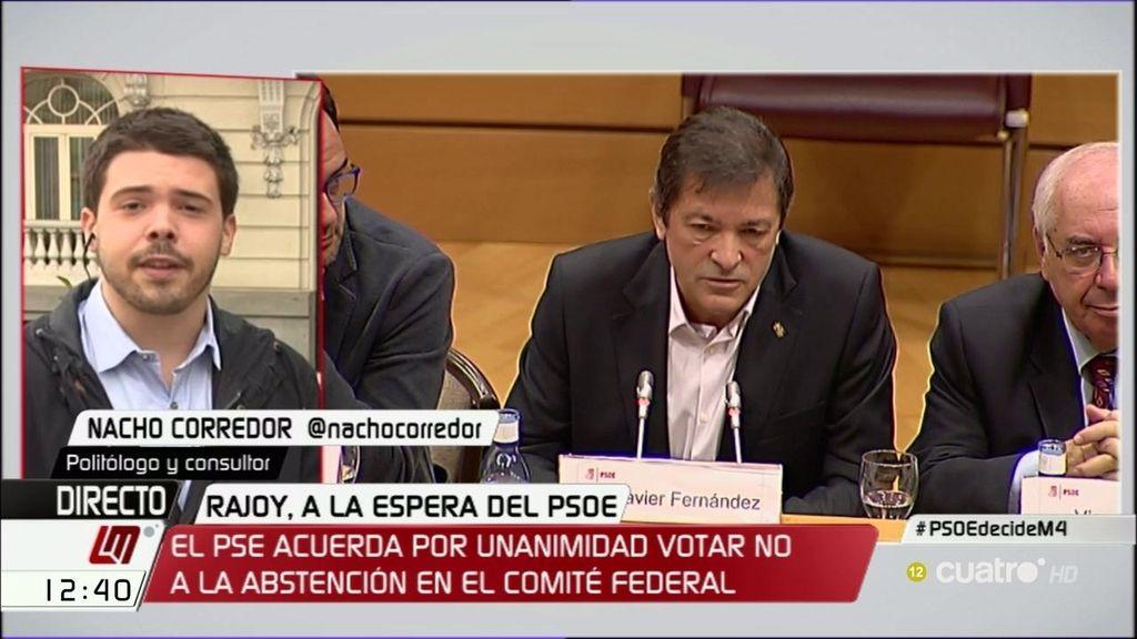 """Nacho Corredor, politólogo: """"Si la abstención a la investidura de Rajoy se ejecuta, el PSOE sufrirá un daño difícilmente reparable"""""""