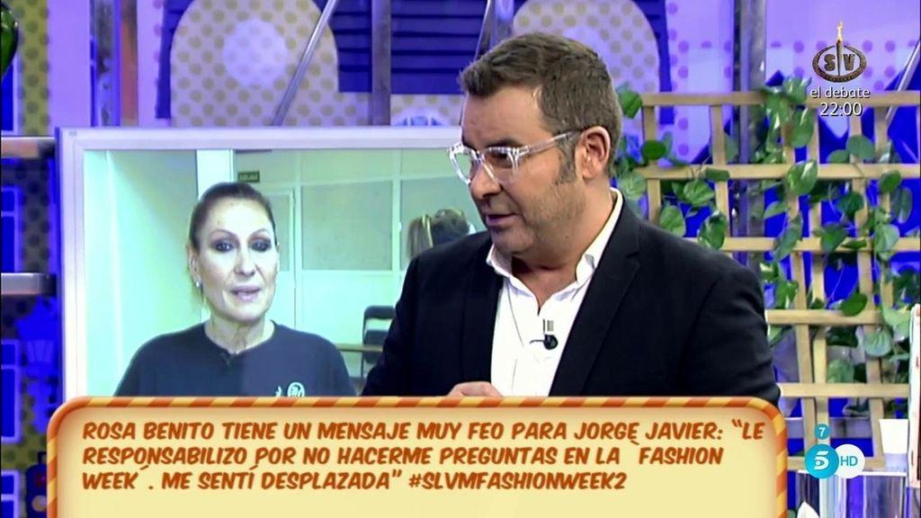 """J.J. Vázquez, a Rosa Benito: """"No aproveches para montarte tu teatrito y utilizarme para dirimir tus diferencias con los directores"""""""