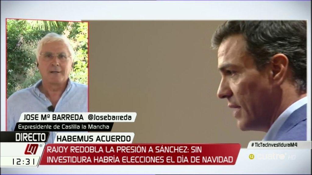 """Barreda: """"Después de esta investidura, si cambian las cosas, es razonable que el PSOE se replantee las cosas"""""""