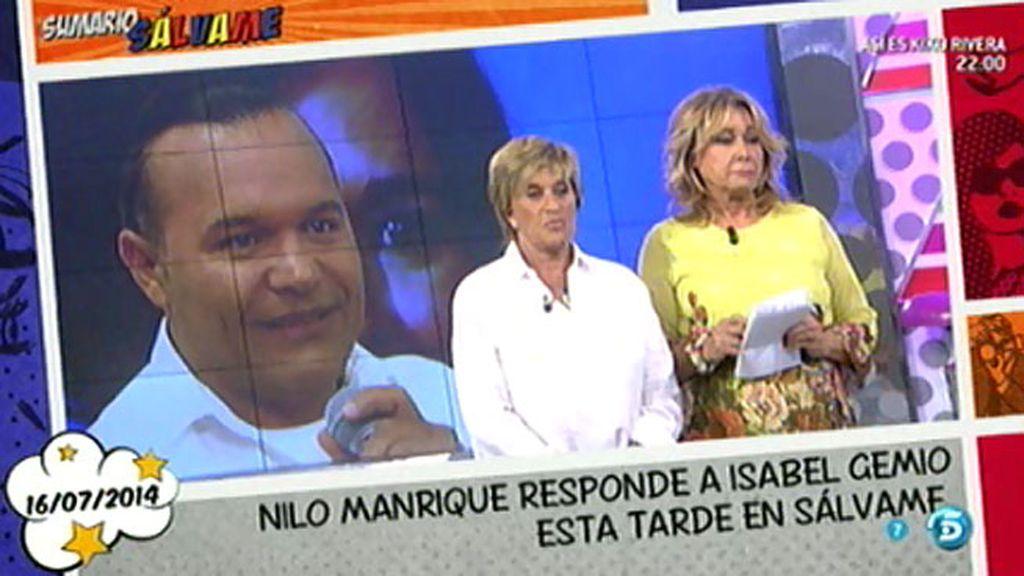 """Nilo Manrique, sobre Isabel Gemio: """"Sólo quiere llenar su hucha"""""""