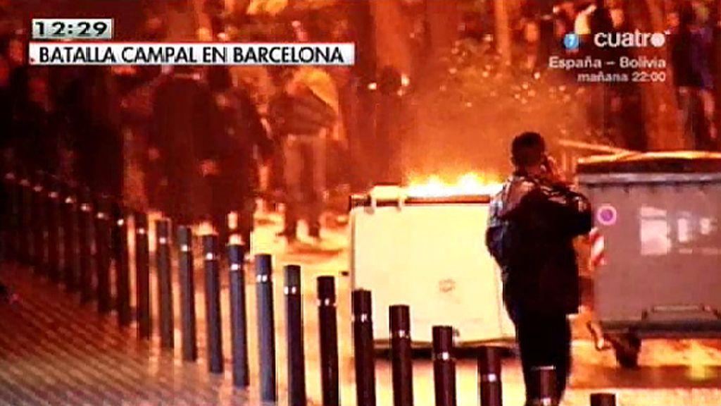 Un equipo de 'LMDC', testigo de las protestas y los altercados en Barcelona