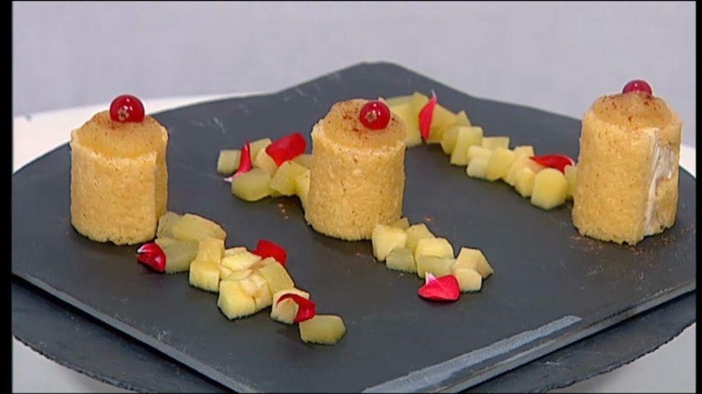 Postre salado: piononos de foie y manzana