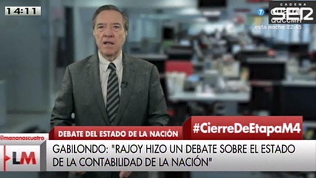 "Gabilondo, sobre Rajoy: ""Es lamentable la falta de mirada integral sobre el país"""