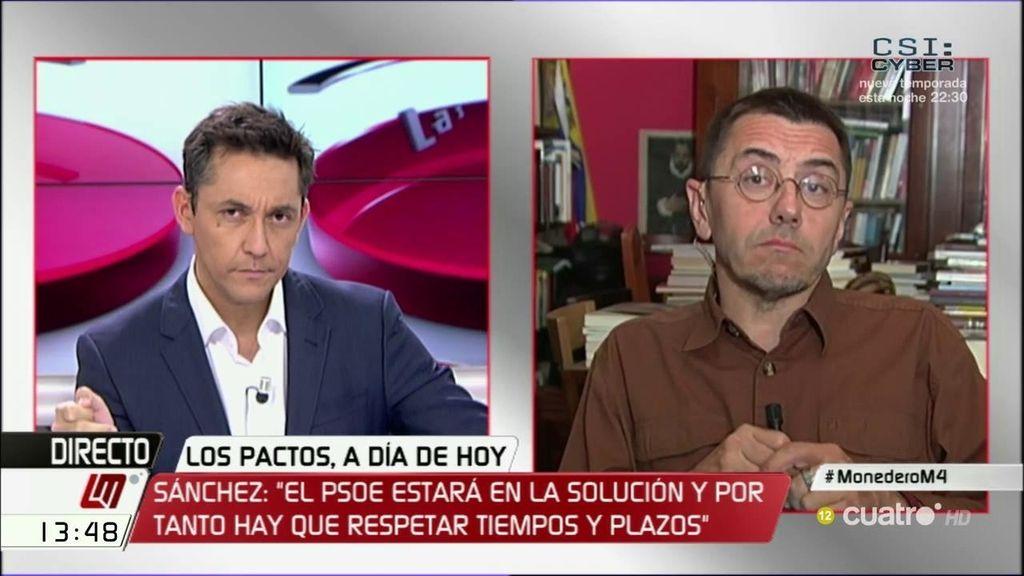 """Monedero: """"Lo que le ha dicho la gente al PSOE es: 'ponte de acuerdo con el PP"""""""