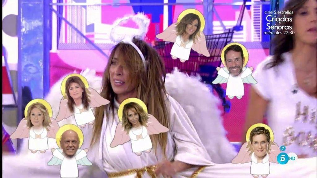 María Patiño, elegida el ángel de 'Sálvame', se cae al entrar en el plató