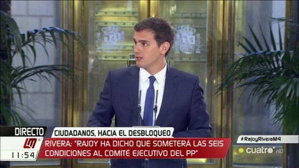 """Albert Rivera: """"Rajoy me ha pedido someter a votación de su ejecutiva nacional las seis condiciones de C's"""""""