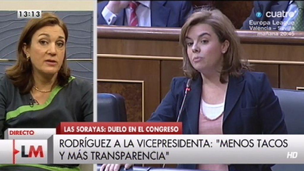 """Soraya Rodríguez, a Sáenz de Santamaría: """"Menos tacos y más transparencia"""""""