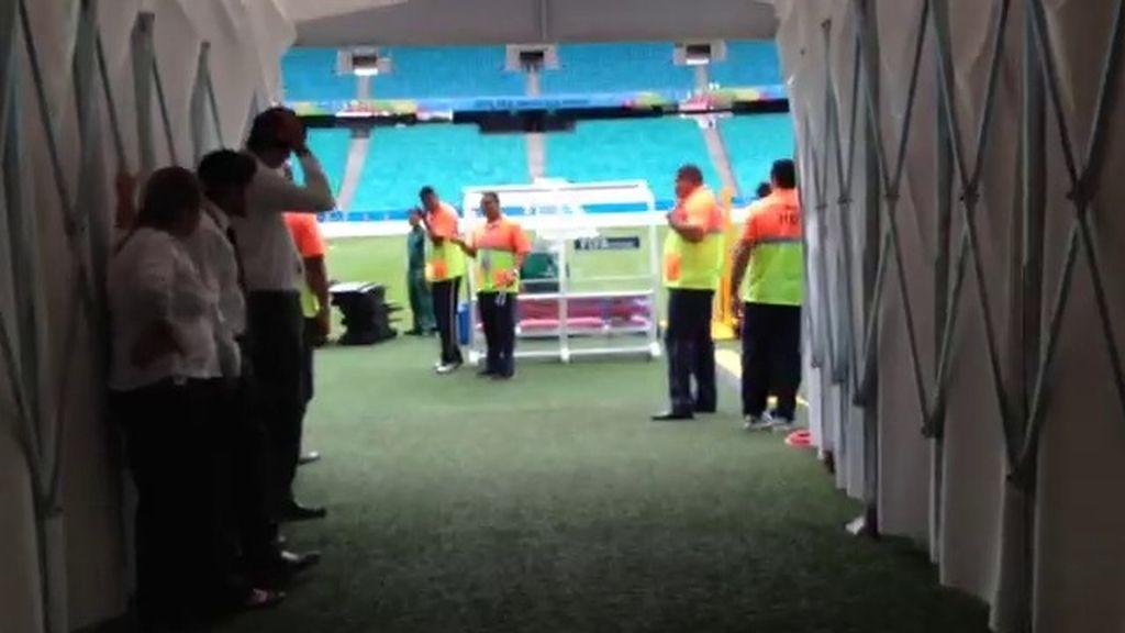 El túnel de vestuarios del Arena Fonte Nova