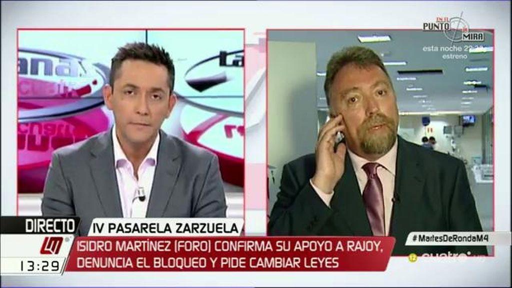 """Isidro Martínez confirma su apoyo a Rajoy: """"Debería gobernar la lista más votada"""""""