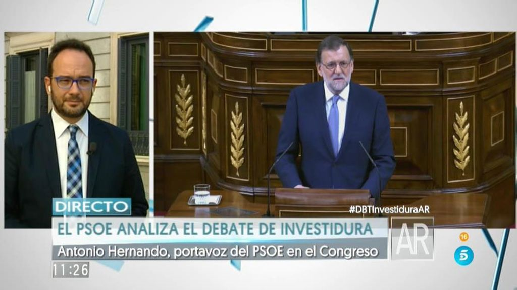 """Antonio Hernando: """"Mariano Rajoy busca desesperadamente las terceras elecciones"""""""