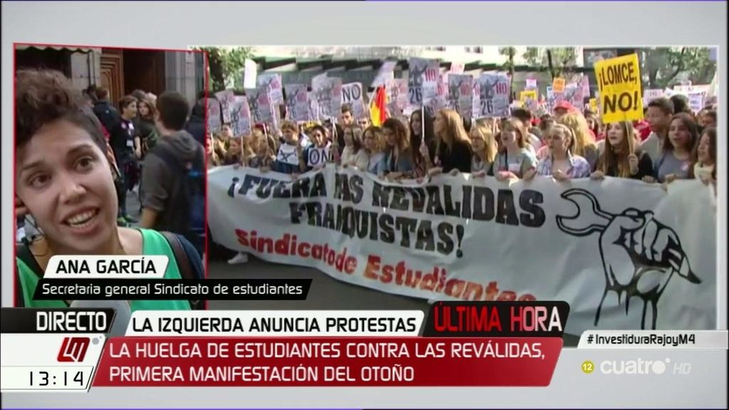 """Ana García (Sindicato de estudiantes): """"No aceptamos las reválidas franquistas ni la expulsión de cientos de miles de jóvenes"""""""