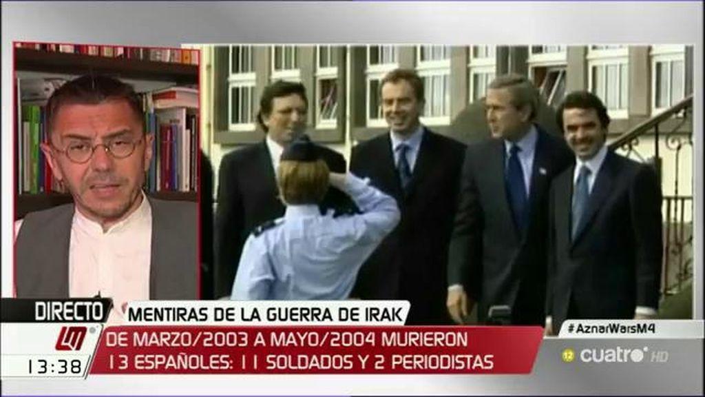 """J.C. Monedero: """"Barroso, Bush, Blair y Aznar tienen que pasar por los tribunales"""""""