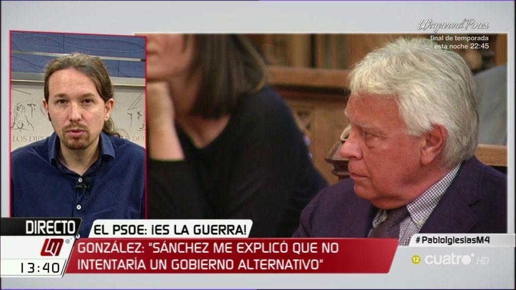 """Pablo Iglesias: """"Ya advertí a Pedro Sánchez que se cuidara del señor González"""""""