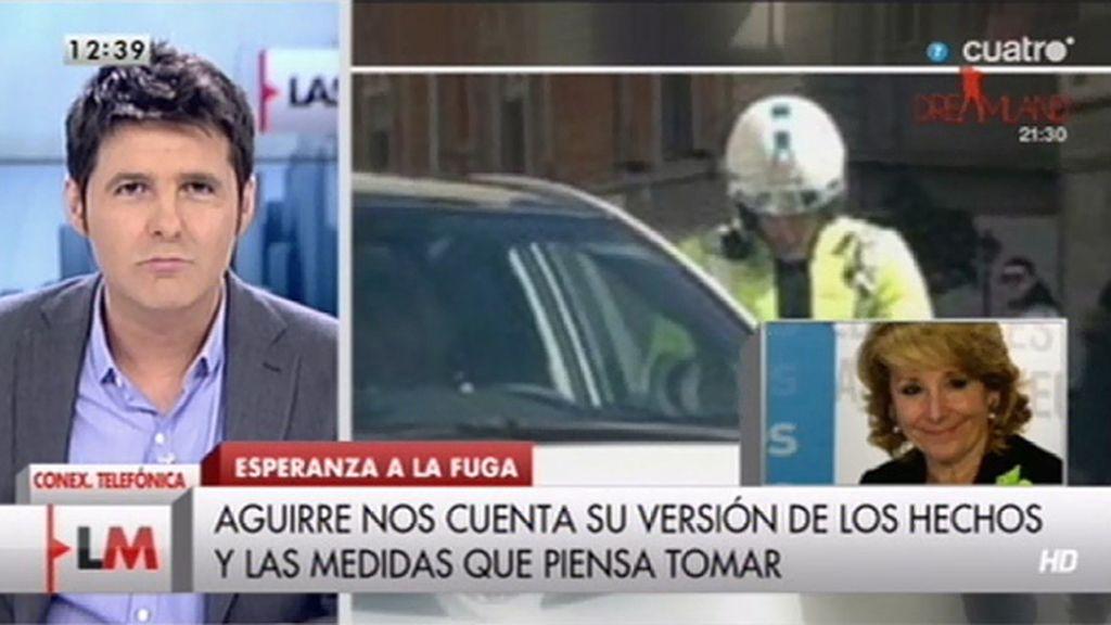 """Esperanza Aguirre:""""Que yo me di a la fuga mientras me ponían la multa es falso"""""""