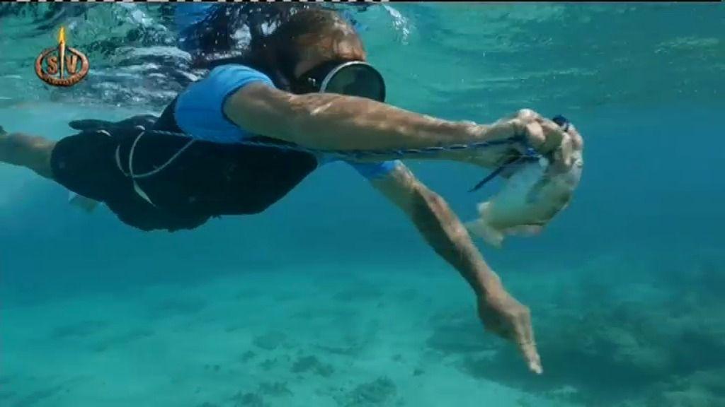 Fortu ha probado un cebo nuevo para pescar: ¡trocitos de coco!
