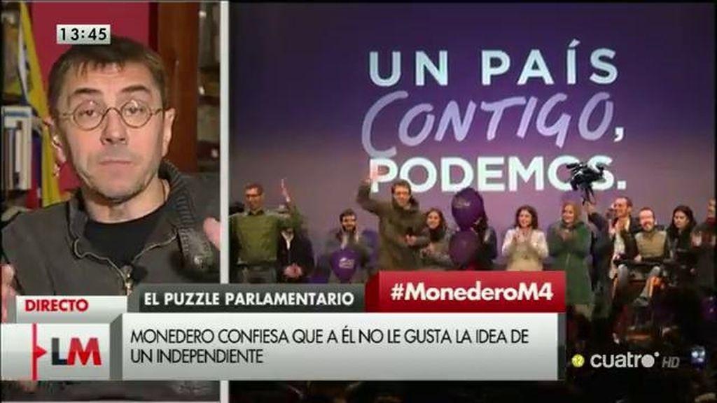 A Juan Carlos Monedero no le gsuta la idea de algún independiente