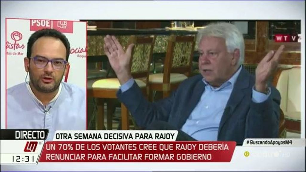 "Hernando: ""Respetando a F. González, escuchándole con atención, creemos que no podemos apoyar la investidura de Rajoy"""