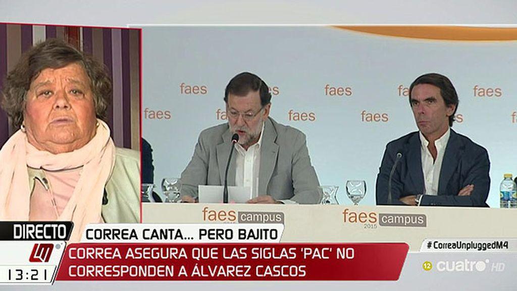 """Cristina Almeida: """"Tanto Aznar como Rajoy deberían darse un paseíto ante el juez"""""""
