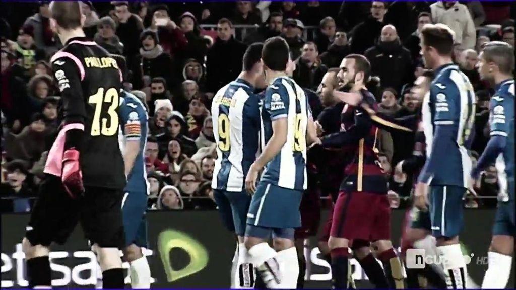 La 'batalla' Barça-Espanyol: patadas, empujones, reproches, insultos y amenazas