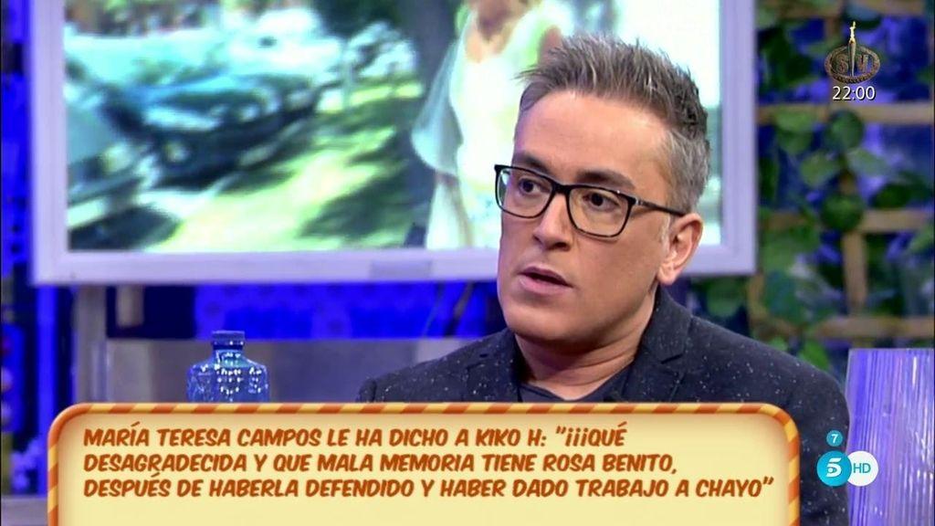 """Kiko H. transmite el mensaje de T. Campos sobre Rosa Benito: """"¡Qué desagradecida!"""""""