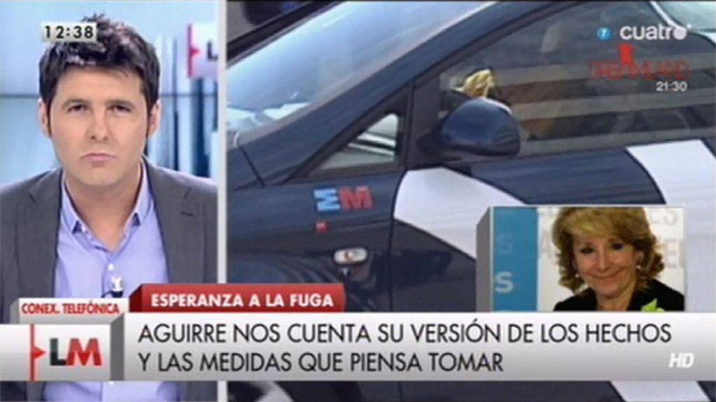 Esperanza Aguirre aclara en 'LMDC' que no se dio a la fuga tras ser multada