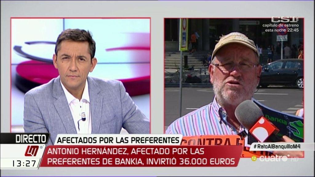 """Antonio Hernández, afectado por las preferentes de Bankia: """"Estas gaviotas harían menos daño enjauladas"""""""