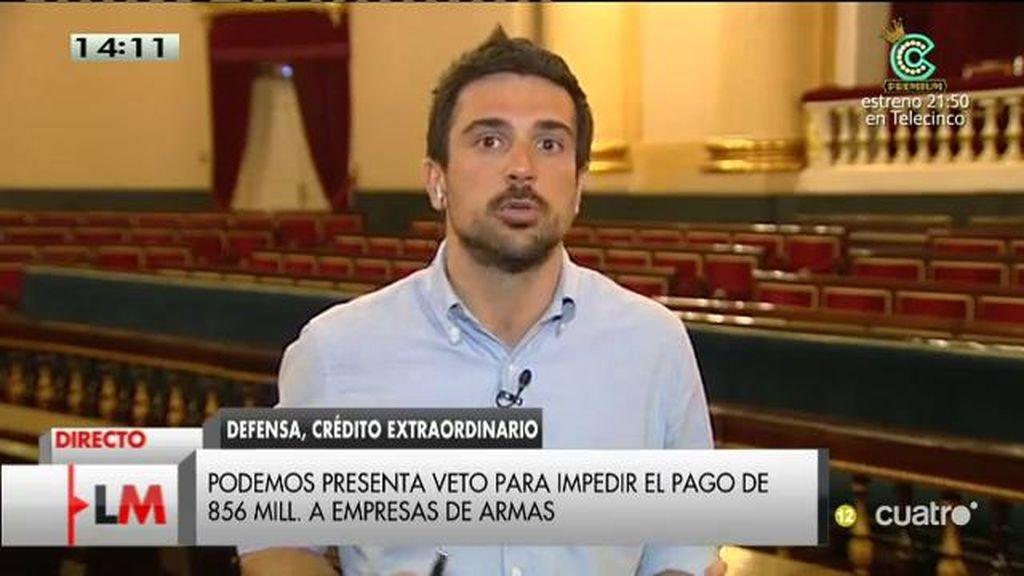 """Espinar: """"Morenés está atrapado en una puerta giratoria entre la industria armamentística y el ministerio de defensa"""""""