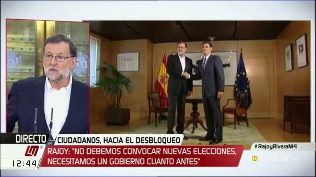 """Rajoy, de las condiciones de C's: """"Debo someter el documento a la aprobación del comité ejecutivo de mi partido"""""""