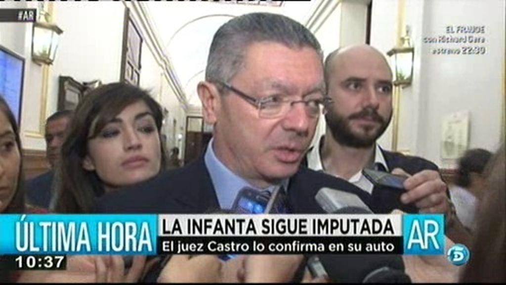 "Gallardón, sobre la imputación de la infanta Cristina:  ""No ha sido ninguna sorpresa"""