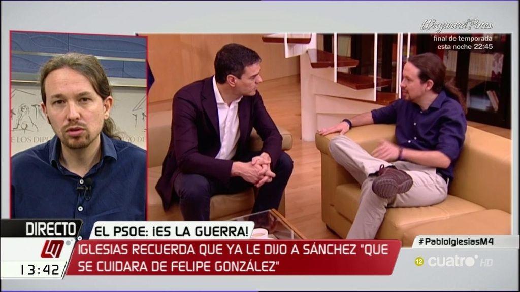 """Pablo Iglesias: """"El debate en el PSOE es si se entregan al PP o si apuestan por terceras elecciones"""""""