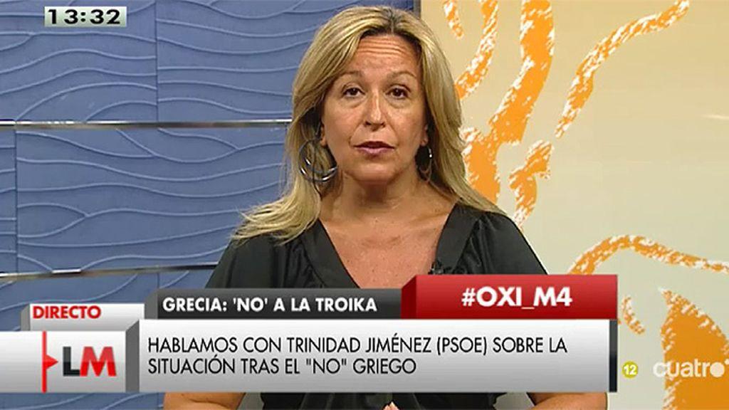 """T. Jiménez: """"Es fundamental que se retome el diálogo y se llegue a un acuerdo, si no, corre un riesgo Grecia pero también la propia UE"""""""