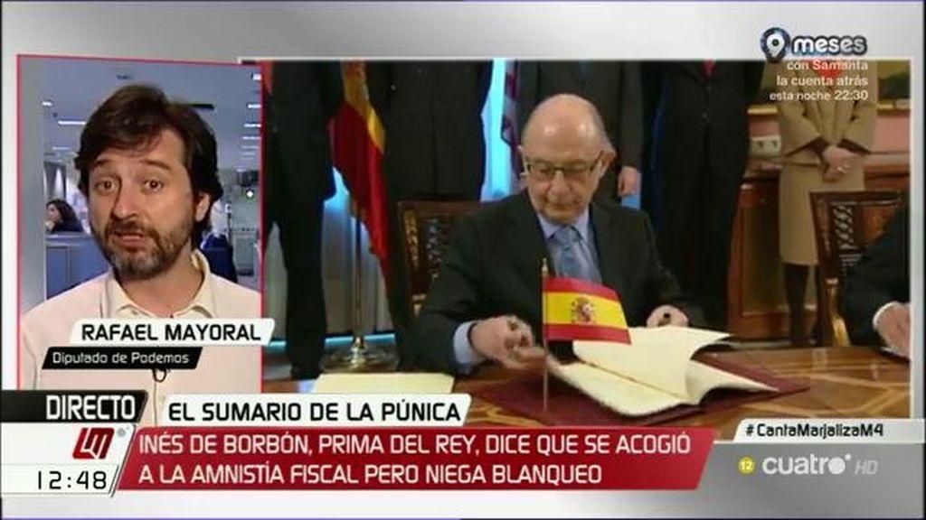 """Rafael Mayoral, de la amnistía fiscal: """"Se ha hecho borrón y cuenta nueva con los privilegiados a precio de saldo"""""""