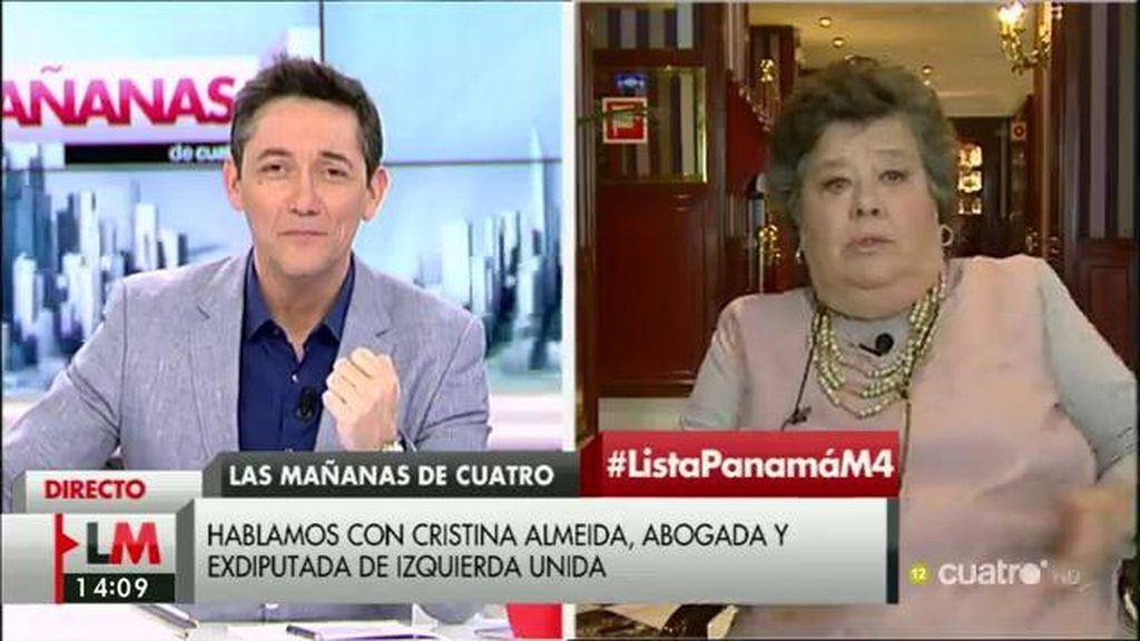 """Cristina Almeida: """"Es sospechoso que alguien de aquí se vaya a Panamá a crear empresas"""""""