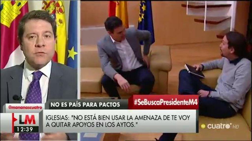 """García Page: """"Hay que buscar un mecanismo de diálogo con Podemos, IU y Compromís"""""""